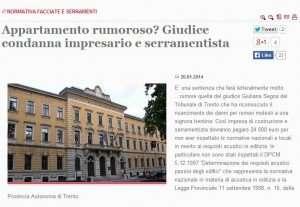 Acustica condanna Giudice Serramentista Causa
