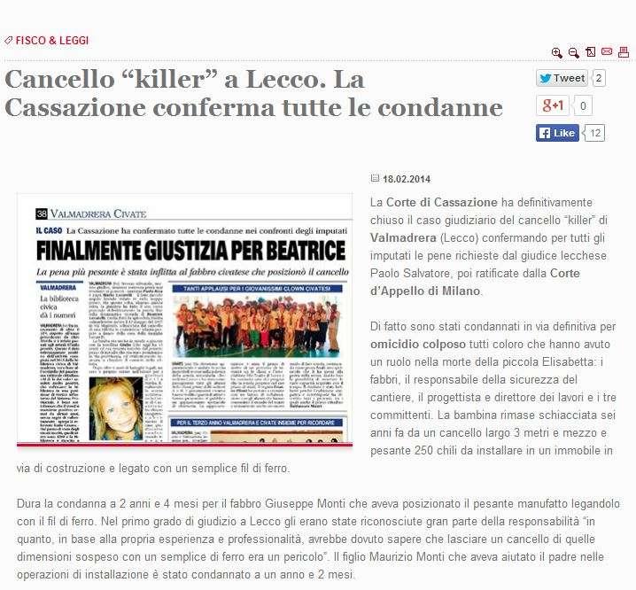 Cancello Killer Condanna Fabbro