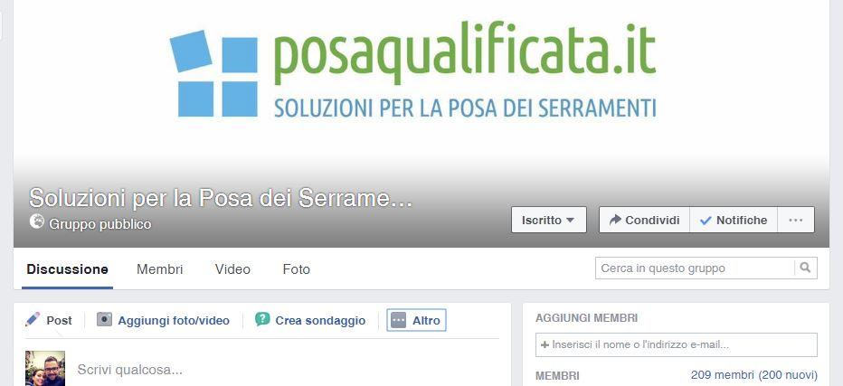 """Gruppo Facebook """"Soluzioni per la Posa dei Serramenti"""""""