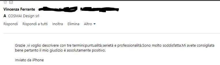 serramenti_matera_come_lavoriamo_cosmai_posaqualificata: screen della recensione lasciata dalla cliente